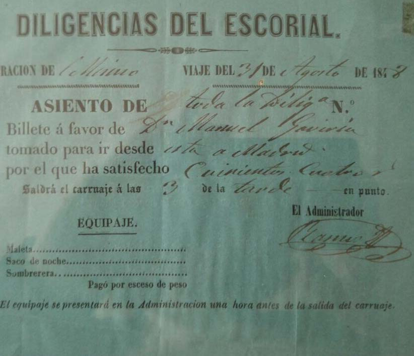Billete Antiguo La Diligencia-Cortesía de Cocheras del Rey (00000003)