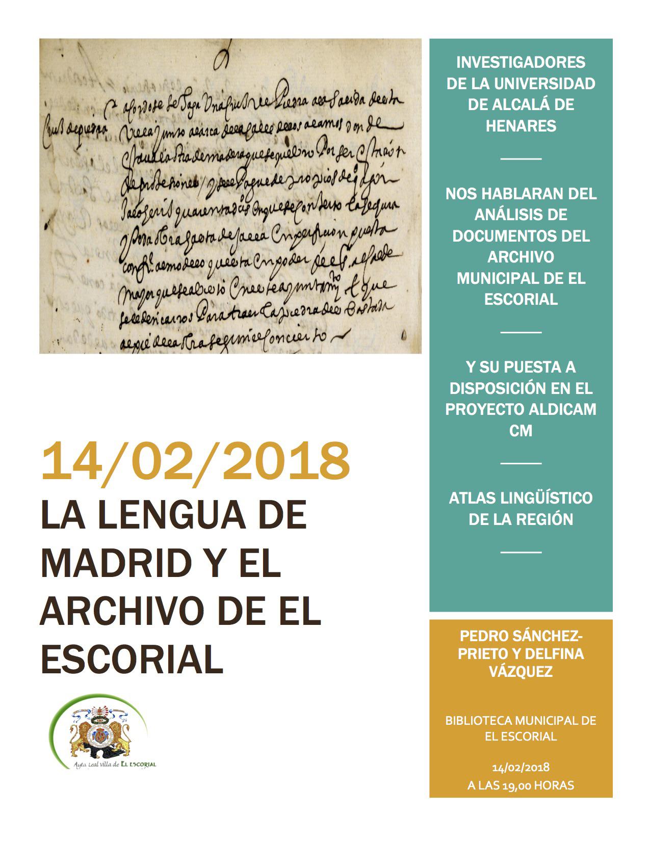 Charla La lengua de Madrid y El Archivo de El Escorial_14-02-18