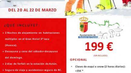 Robledo de Chavela organiza unas jornadas de esquí en Astún del 20 al 22 de marzo