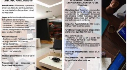 El Escorial destina un total de 400.000 euros a un plan de ayudas para pymes, autónomos y afectados por ERTES o despidos