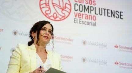 """Isabel Díaz Ayuso, en los Cursos de Verano de la Complutense en San Lorenzo de El Escorial: """"Madrid es el territorio más libre porque es de todos"""""""
