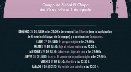 Galapagar lleva el cine de verano al campo de fútbol El Chopo del 26 de julio al 1 de agosto