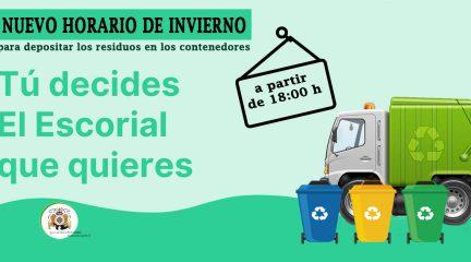 El Escorial adelanta a las 18:00 el horario para depositar residuos en los contenedores