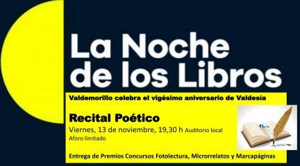"""Valdemorillo celebra la Noche de los Libros con el recital poético de """"Valdesía"""""""