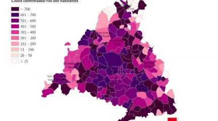 La incidencia de Covid-19 se dispara en todos los municipios, con los peores datos en Torrelodones (893) y Collado Villalba (780)