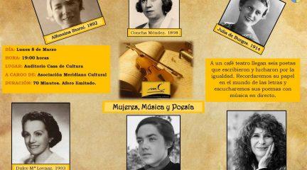 """Meridiano Cultural presenta en El Escorial y Valdemorillo el recital """"Mujeres, música y poesía"""" con motivo del 8-M"""