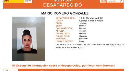 Desaparecido desde el lunes un chico de 16 años en Collado Villalba