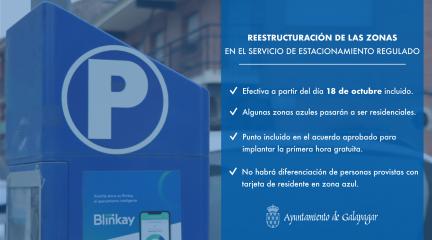 Galapagar reestructura las zonas en el Servicio de Estacionamiento Regulado a partir del 18 de octubre