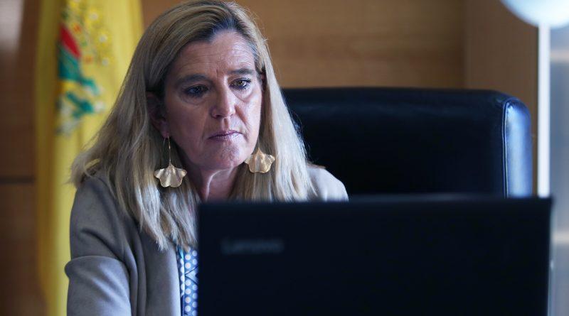 La alcaldesa, Mariola Vargas, durante un Pleno telemático